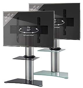 VCM Zental Meuble Colonne avec Pied/Etagère en verre pour TV Argent