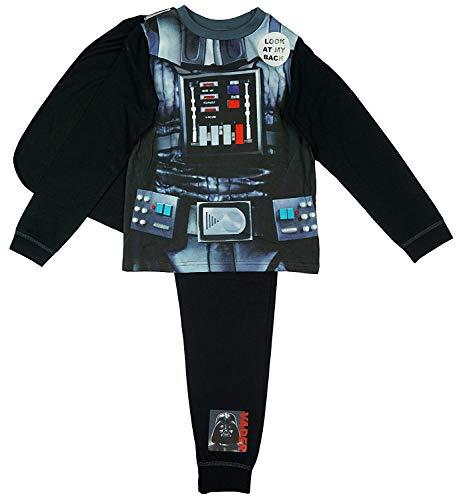 Jungen Offiziell Star Wars Darth Vader Kostüm Schlafanzüge mit Cape größen von 2-8 J - Schwarz - Schwarz, 3-4 Years, Schwarz