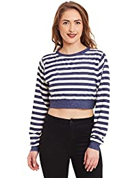 Miss Chase Womens Blue and Off-White Striped Crop Top