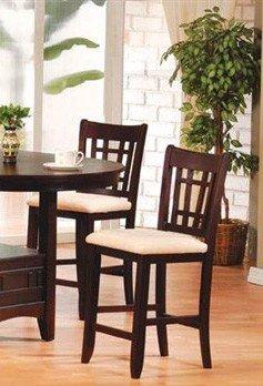 Set of 2 30H Bar Stools Dark Brown Cherry Finish by Acme Furniture - Cherry Bar Set