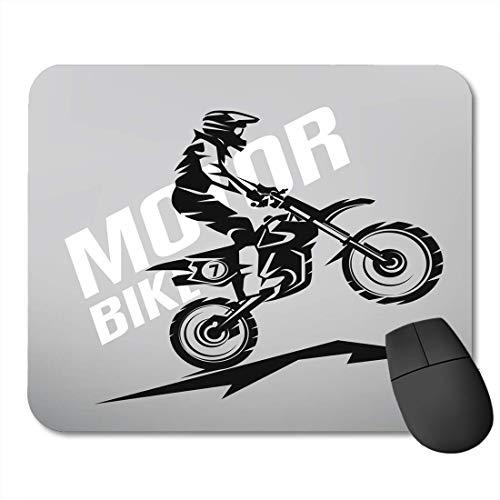 rutschfeste Gummi-Rechteck-Mausunterlagen,Moto Biker Motocross Symbol Design f¨¹r Dirt Motorrad