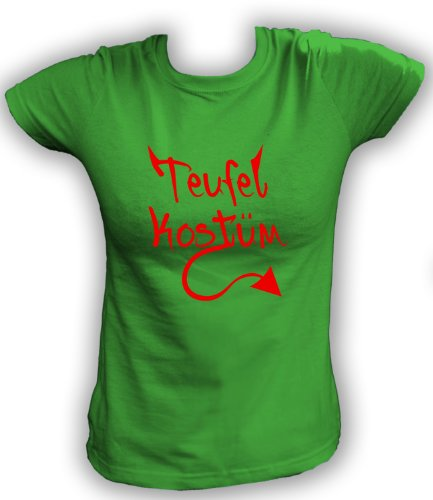 Artdiktat T-Shirt Teufel Kostüm Walpurgisnacht Karneval Fasching Damen, Größe XXL, grün