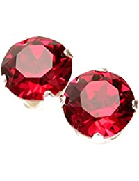 pewterhooter 925 Sterling Silver stud earrings expertly made with Ruby Red crystal from SWAROVSKI® London box.