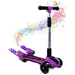 Airel Patinete 3 Ruedas | Scooter para Niños Plegable | Scooter para Niños con Música y Vapor | Patinete con Luces | Scooter para Niños | Patinete para Niños de 3-10 Años