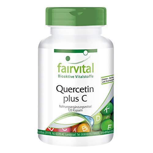 Quercetin Kapseln mit Vitamin C - HOCHDOSIERT - VEGAN - 120 Kapseln - Antioxidantien