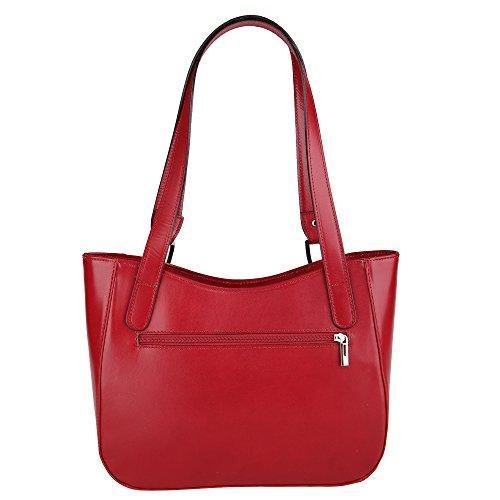 Chicca Borse Frau Schultertasche aus echtem Leder Made in Italy 34x23x10 Cm Rot