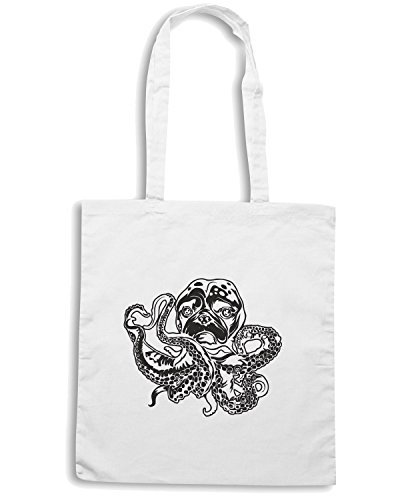T-Shirtshock - Borsa Shopping FUN0292 12 17 2012 Octopus Pug T SHIRT det Bianco