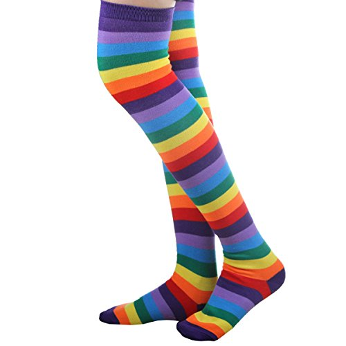 LUOEM Mujeres Rainbow Knee High Socks Colorful Muslo