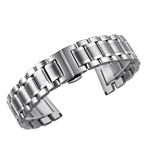 23mm Luxus Männer solide schwere Stahl Uhrenarmbänder mit den beiden gebogenen Ende gerade Ende Faltschließe