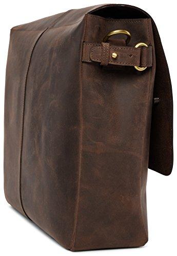 LEABAGS Glendale borsa a tracolla vintage in vera pelle di bufalo - CrazyVinkat Noce moscata
