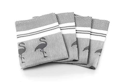 myHomery Geschirrhandtücher mit modernen Motiven im praktischen 4er Set aus 100{6bb319d2686e2e206e1bfacca50a5cba37690e4d066ca5e376260f20a1371e76} Baumwolle Flamingo - Anthrazit | 4er-Set - 50 x 70 cm