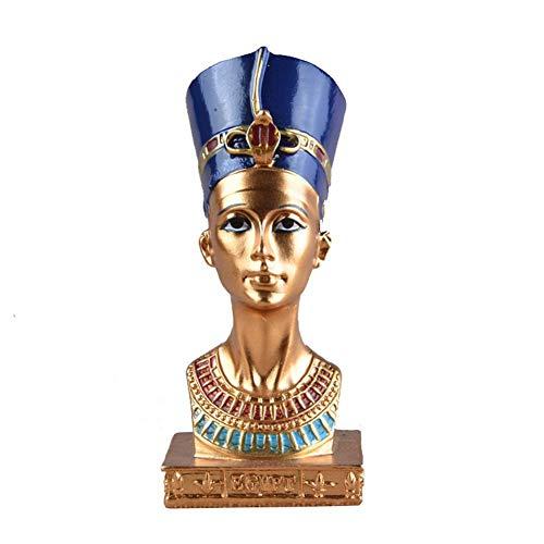 Especificación:Nombre: Decoración de la cabeza de la reina egipciaTamaño: longitud, ancho, altura: aproximadamente 11.5 * 6 * 5 cm / 4.53 * 2.36 * 1.97inEstilo: mediterráneoMaterial: resina de alta calidad.Artesanía: pintada a mano + artesanía vin...