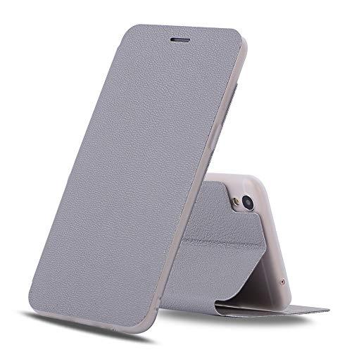 Adrian B Gonzalez Oppo R9 Plus Hülle, Strukturierte Ultra-Slim Flip PU Ledertasche für Oppo R9 Plus (Farbe : Gray)