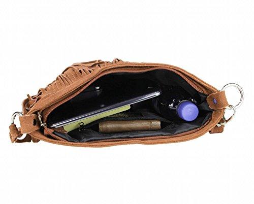 OBC Made in Italy Donna Borsa a tracolla in pelle scamosciata frange borsa a tracolla 32x 30x 5cm (BxHxT) marrone cognac 32x30x5 cm (BxHxT) cognac