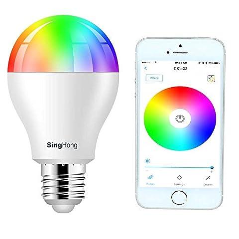 LUXJET Smart LED Glühbirne, E27 LED Lampen,Stimmungslicht, Farbwechsel für iPhone IOS und Samsung Galaxy Android Smart Phone