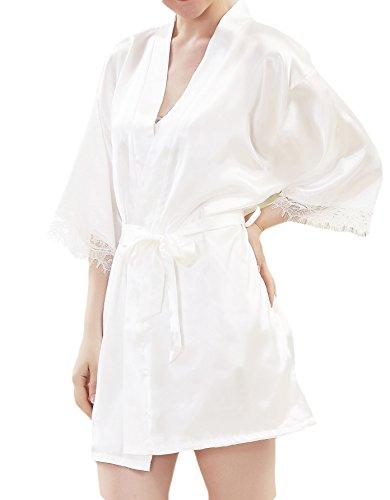 Damen Kimono Satin Morgenmantel Nachtmantel Unterkleid Robe ...