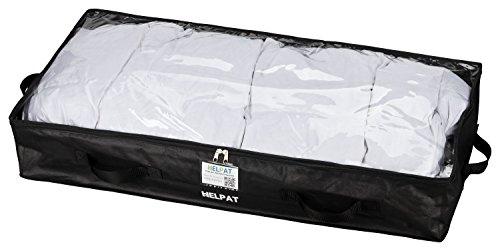 Premium Unterbettkommode mit Sichtfenster, 4 Haltegriffen und Beschriftungsfenster - 100 x 48 x 18 cm - staubfreie Kleideraufbewahrung - atmungsaktive Aufbewahrungstasche für Decken, Kleidung und mehr