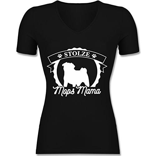 Shirtracer Hunde - Stolze Mops Mama - Tailliertes T-Shirt mit V-Ausschnitt für Frauen Schwarz