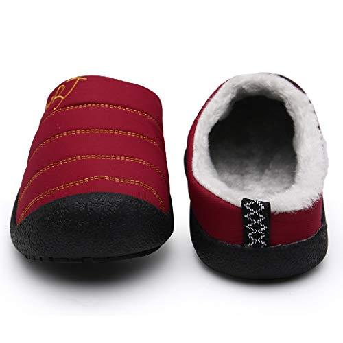 HDUFGJ Herren & Damen Hausschuhe Gefütterte Plus Samt Warm halten Hausschuhe aus Baumwolle, Antirutsch Pantoffeln38 EU(Wein)