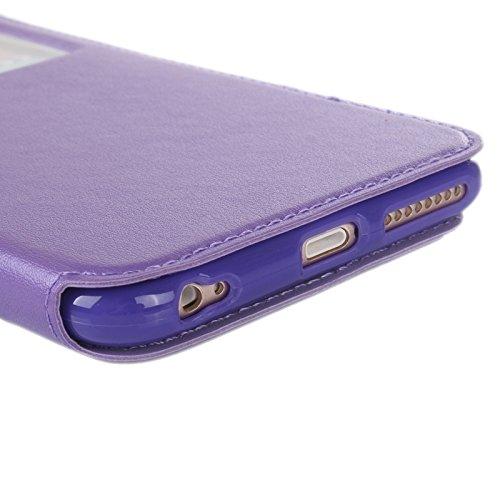 Phone case & Hülle Für iPhone 6 Plus / 6S Plus, Roar Crazy Pferd Textur Leder Tasche mit Halter & Card Slot & Anrufer ID Display ( Color : Gold ) Purple