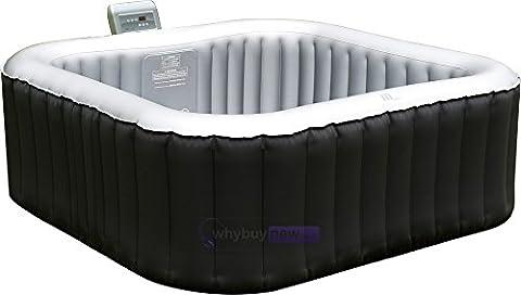 MSPA Lite Alpine Square Bubble Spa Portable Hot Tub, Black, 930 Litres