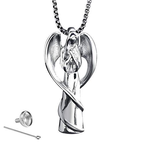 PLDDY Asche Halskette Pet Casket Halskette Titan Stahl Anhänger Parfüm Flasche Schmuck kann geöffnet werden, um zu gedenken, Katzen und Hunde sind geeignet für Männer und Frauen, 4 Farben, Engelsflüge