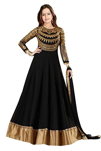 Designer Black Colour Partywear Unstitched Dress Material With Embroidered Work MFD-2