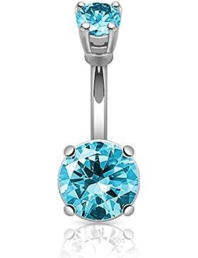 beyoutifulthings Bauch-nabelpiercing GROSSER STEIN Set Stab-dicke 1,6mm Stab-länge 10mm Kristall 10mm Nabel Piercing...