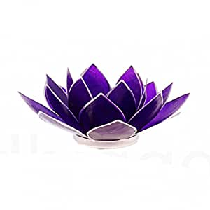 porte bougie fleur de lotus violet 13 5cm. Black Bedroom Furniture Sets. Home Design Ideas