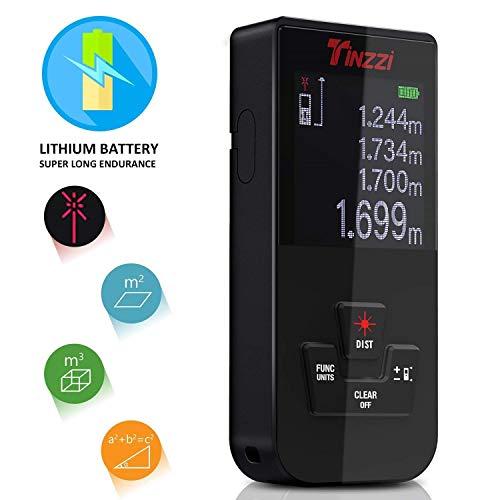 [Nuova Versione] Misuratore Laser, Tinzzi Professionale Mini Metro Digitale con Retroilluminazione Distance Meter Telemetro Ricaricabile/USB Alimentato/Polveri e Spruzzi d\'acqua IP54