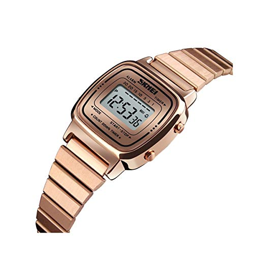 WULIFANG Wasserdichte Uhr Weibliche LED Digital Edelstahl Damen Chronograph Rose Gold