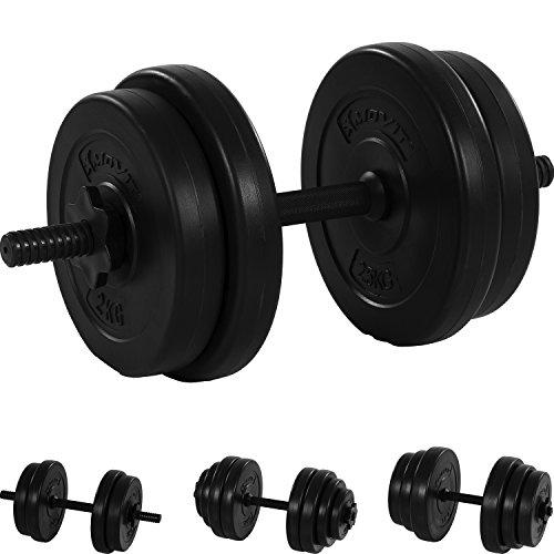 MOVIT® Kurzhantel Set, Varianten 1x10 bis 1x20 kg, Stangen gerendelt mit Sternverschlüssen