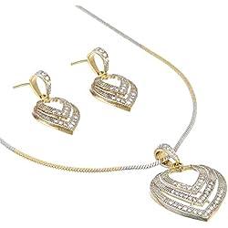 Zeneme American Diamond Gold Plated Big Size Pendant Necklace Set for Women & Girls (Heart)
