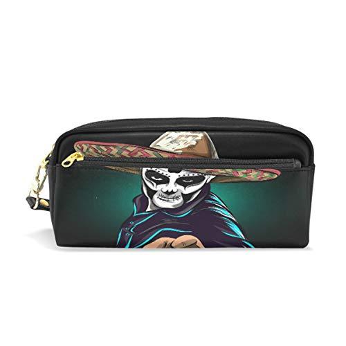 Emoya Federmäppchen Stifteetui Tag der Toten Sugar Skull Man Studenten Schreibwaren Tasche Reißverschluss Tasche Kosmetiktasche