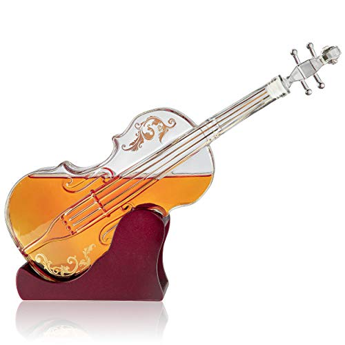 Glas Violine Dekanter, Mahagoni Boden, der Wein Savant 1000ml Glas Dekanter für Whiskey, Scotch, Spirituosen, Wein oder Wodka für Musikliebhaber. - Mahagoni Böden