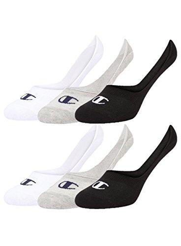 Champion 6pk Footie Socken, Hellgrau/Weiß/Schwartz, 35-38