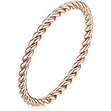 Vnox 1.5 millimetri in acciaio inox ritorto francese corda aggancio di cerimonia nuziale anello della fascia in oro rosa
