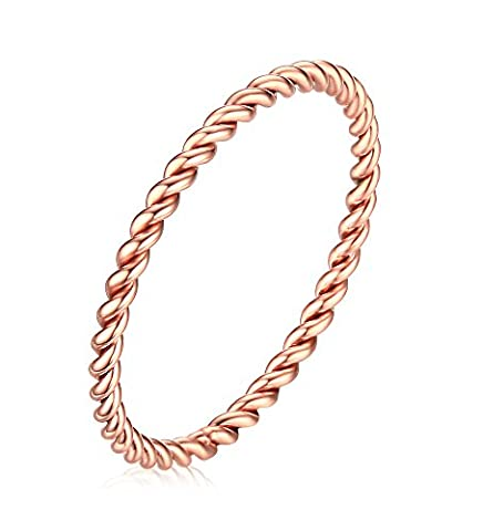Vnox 1.5mm Stainless Steel Twist French Rope Wedding Engagement Band Ring Rose Gold UK Size N 1/2
