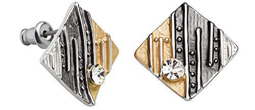 Perlkönig | Damen Frauen | Ohrringe Set | Ear Cuffs | Linien auf Viereck in Schwarz Silber Gold | Tricolor | Zirkonia Glitzer Stein | Ohrstecker |Nickelfrei