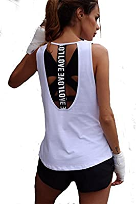 Win2free Damen Sport Tank Top Sport T-Shirt Lang Locker T-Rücken