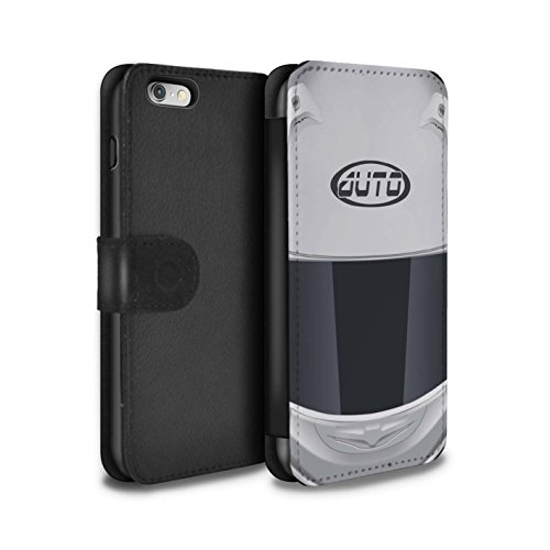 Stuff4 Coque/Etui/Housse Cuir PU Case/Cover pour Apple iPhone 4/4S / Motocross/Rouge Design / Casque Moto Collection Superbike/Blanc