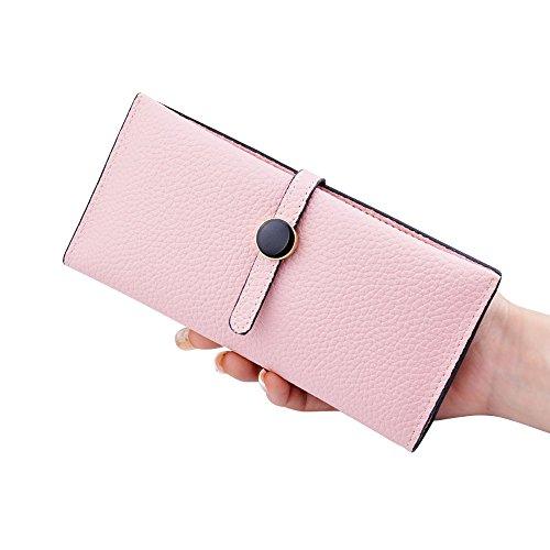Woolala Women'S Slim Portafogli Pu In Pelle Pieghevole Slot Multi Card Lunga Borsa, Rosa Pink