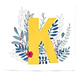 BAOQIN 60 * 80 Inches Unique Design Wonderful Prints Letter K arazzo Queen Size, Seasonal Forest Foliage Leaves Berries Flowers Sketch Nature ABC Letter K, Home Decorations for Living Room Dorm Decor