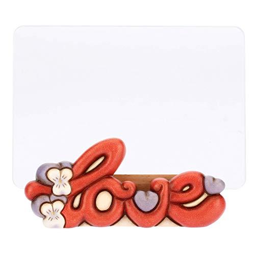 THUN  - Cornice Portafoto Rettangolare da Tavolo Medio - Formato 14 x 7 cm - Decorazione Panda Love - Vetro