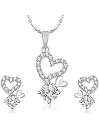 Meenaz Pendant Set For Women & Girls Earrings In American Diamond Silver Plated CzPT209