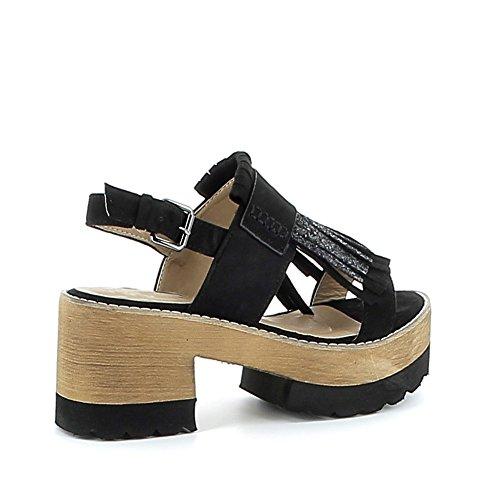 Sandale à plateau cranté avec franges pailletées Noir
