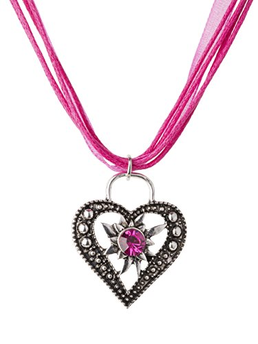 Trachtenkette Wiesnstein eleganter Herz Anhänger mit Strass - viele Farben - Trachtenschmuck Kette für Dirndl und Lederhose (Fuchsia)