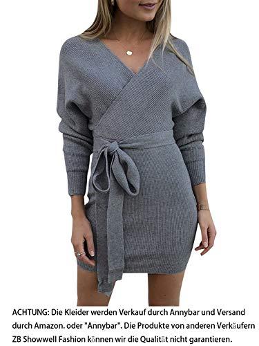 Annybar Damen Kurz Strickkleid Herbst Rückenfrei Langarm Kleid Grau