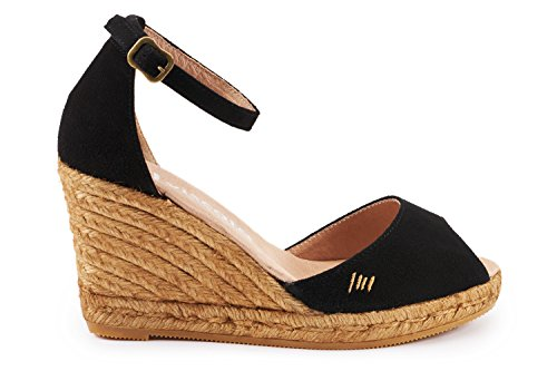 VISCATA Caprubi Elegant Comfort, Soft Suede, Ankle-Strap, Open Toe, Espadrilles with 3-inch Heel Made in Spain Noir - noir