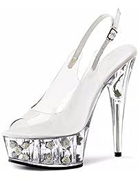 YMFIE Mesdames haut talon sandales pantoufles fashion sexy talons mariage banquet parti tempérament,40 EU,transparent